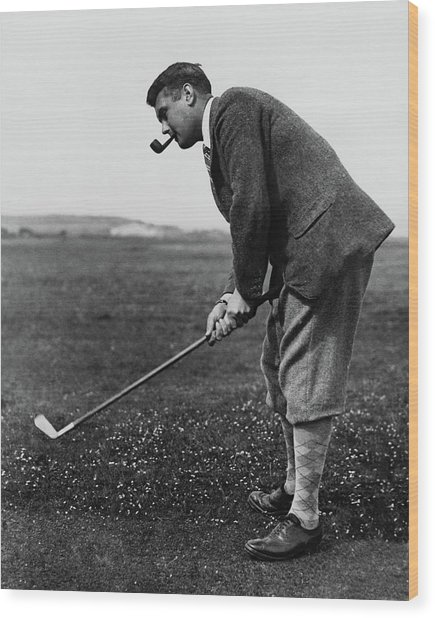 Cyril Tolley Playing Golf Wood Print by Artist Unknown