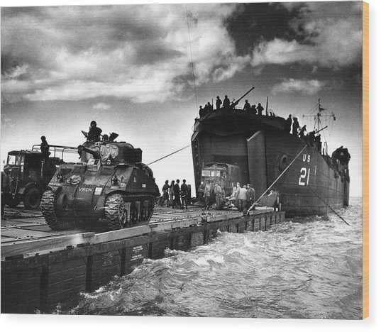 D-day Landings Harbour Wood Print by Us National Archives