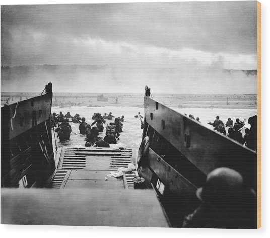 D-day Landings Wood Print by Robert F. Sargent, Us Coast Guard