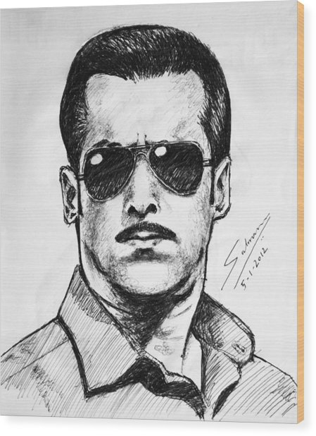 Salman Khan Wood Print
