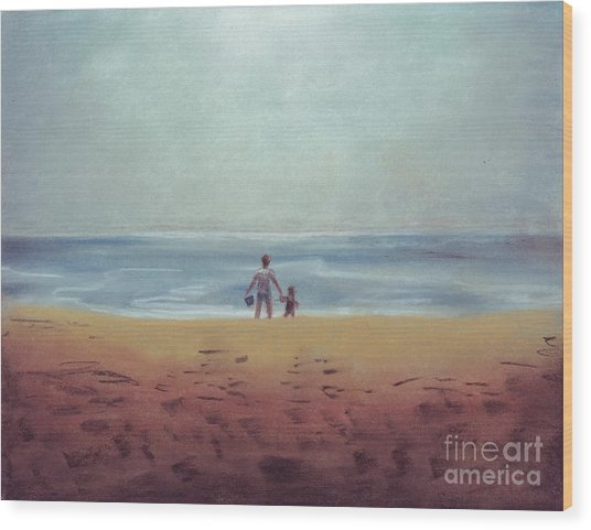 Daddy At The Beach Wood Print