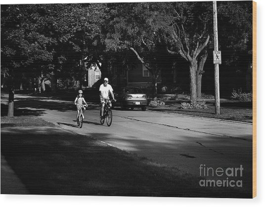 Daddy's Shadow Wood Print