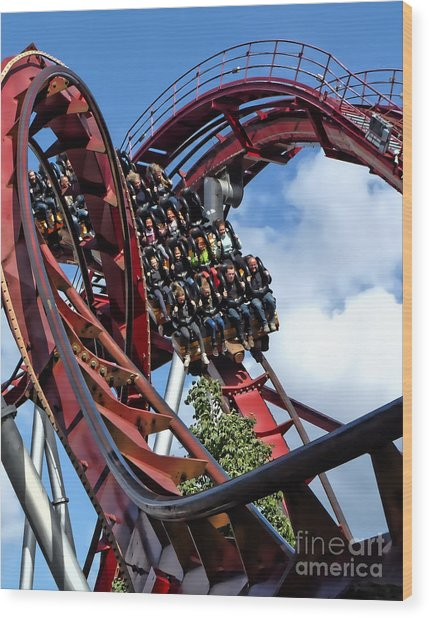 Daemonen - The Demon Rollercoaster - Tivoli Gardens - Copenhagen Wood Print