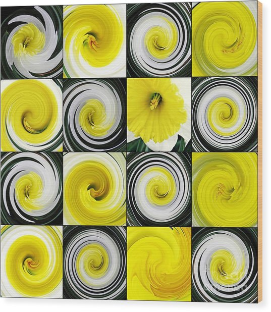 Daffodil Spring Mosaic Wood Print