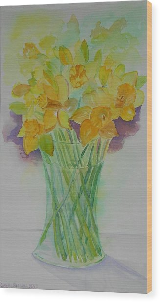 Daffodils In Glass Vase - Watercolor - Still Life Wood Print