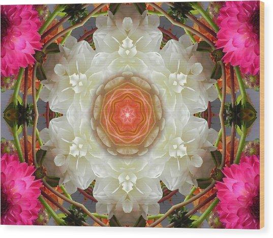 Dahlia Portal Mandala Wood Print