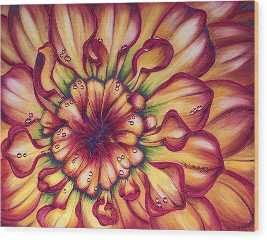 Dahlia Rainbow Wood Print