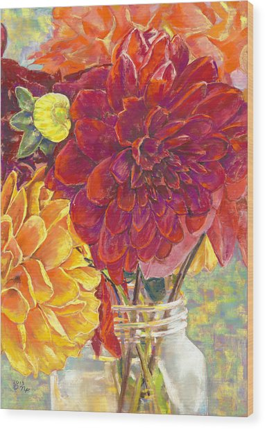 Dahlias In A Canning Jar Wood Print