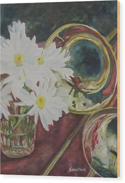 Daisies Bold As Brass Wood Print