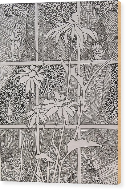 Daisies In A Window Wood Print