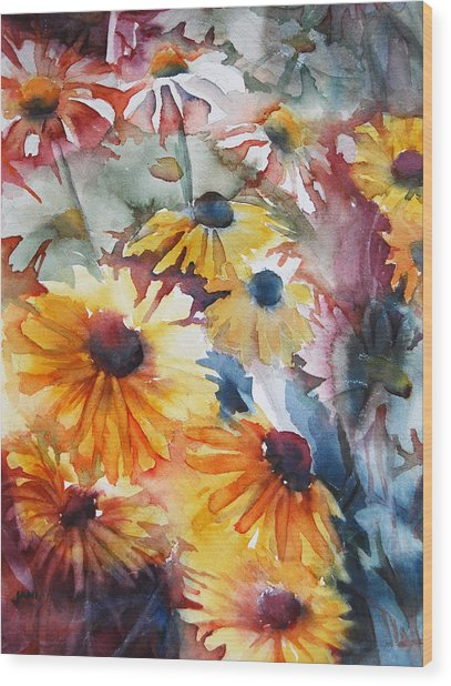Wood Print featuring the painting Daisies by Jani Freimann