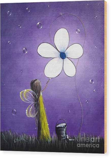 Daisy Fairy By Shawna Erback Wood Print by Artisan Parlour