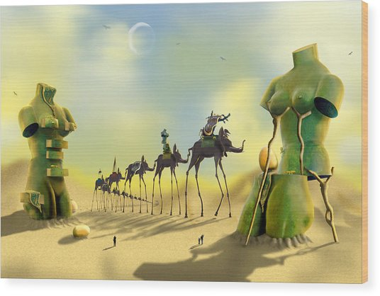 Dali On The Move  Wood Print