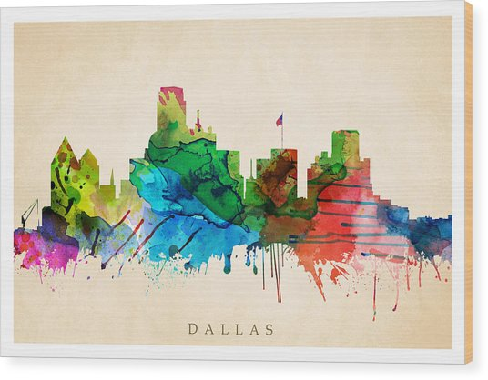 Dallas Cityscape Wood Print