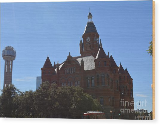 Dallas County Courthouse And Reunion Tower Wood Print by Ruth  Housley