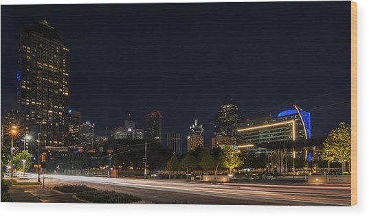 Dallas Night Skyline From Klyde Warren Park Wood Print