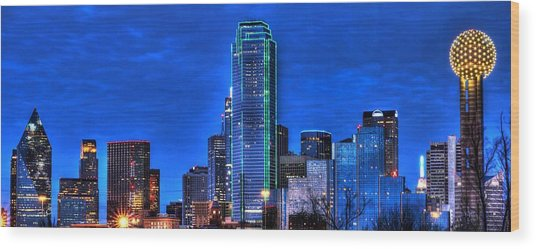 Dallas Skyline Hd Wood Print