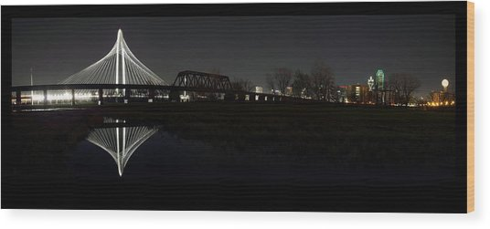 Dallas Skyline Hunt Bridge Color Wood Print