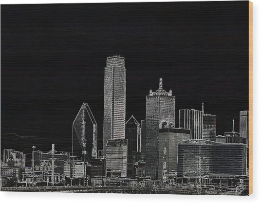 Dallas Skyline In Black - Center Wood Print