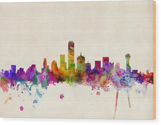 Dallas Texas Skyline Wood Print