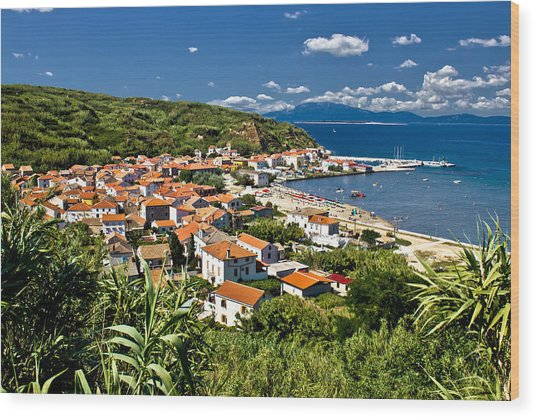 Dalmatian Island Of Susak Village And Harbor Wood Print