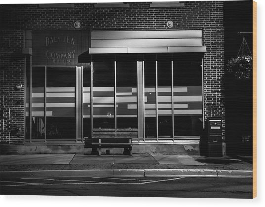 Daly Tea Company At Night Wood Print