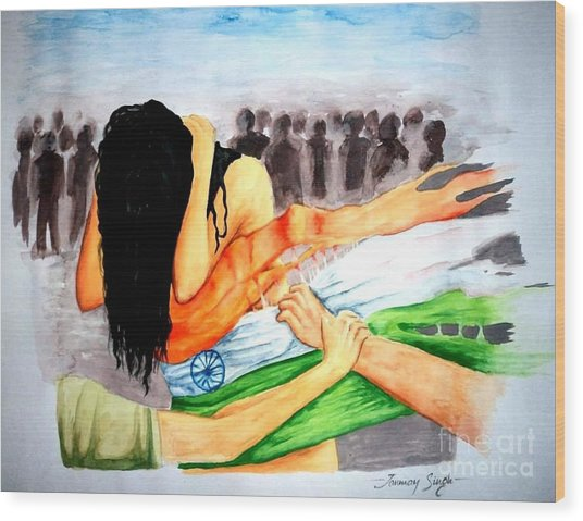 Delhi Gang Rape A Tragedy Wood Print by Tanmay Singh