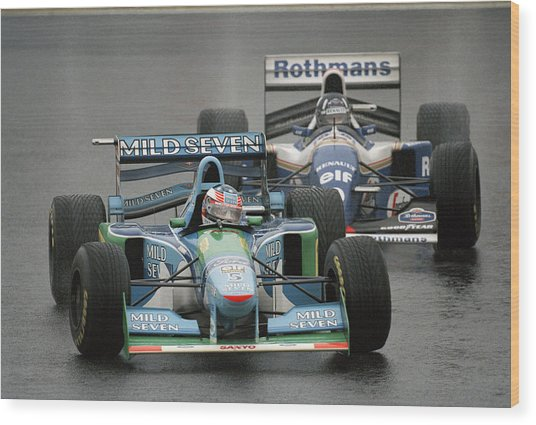 Damon Hill And Michael Schumacher Wood Print by Pascal Rondeau