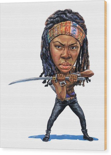 Danai Gurira As Michonne Wood Print by Art