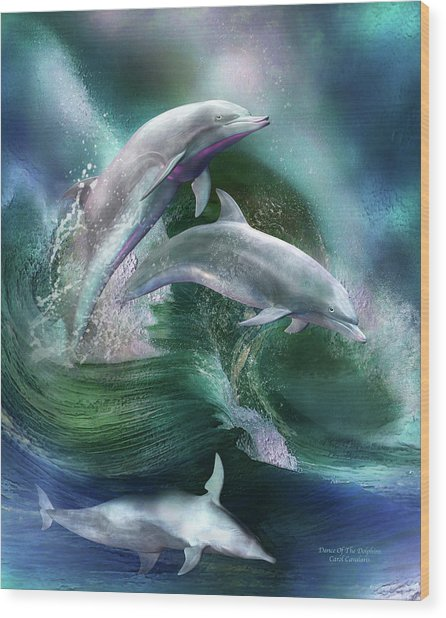 Wood Print featuring the mixed media Dance Of The Dolphins by Carol Cavalaris