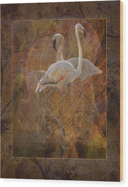 Dance Of The Flamingos Wood Print