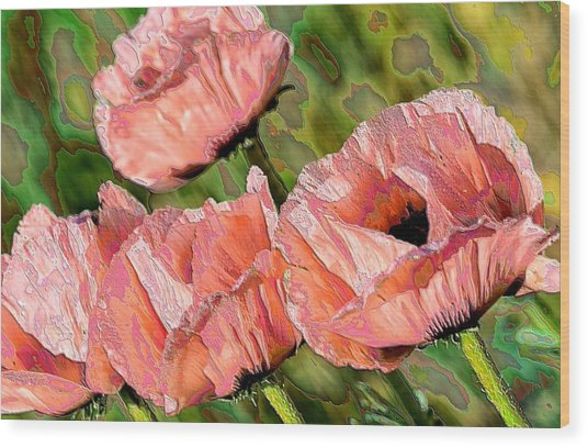 Dance Of The Poppies Wood Print