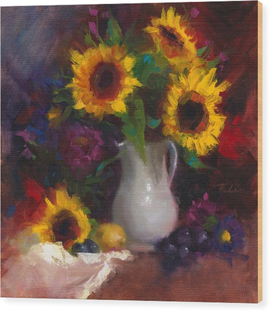 Dance With Me - Sunflower Still Life Wood Print