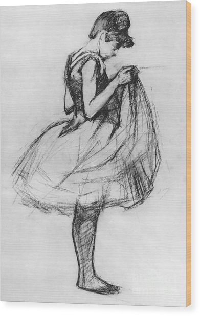 Dancer Adjusting Her Costume And Hitching Up Her Skirt Wood Print