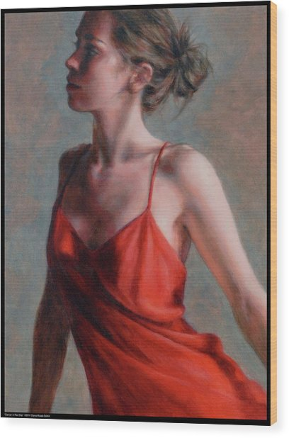 Dancer In Red Slip Wood Print