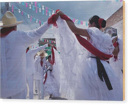 Dancers At A Traditional Fiesta Wood Print by Russell Monk