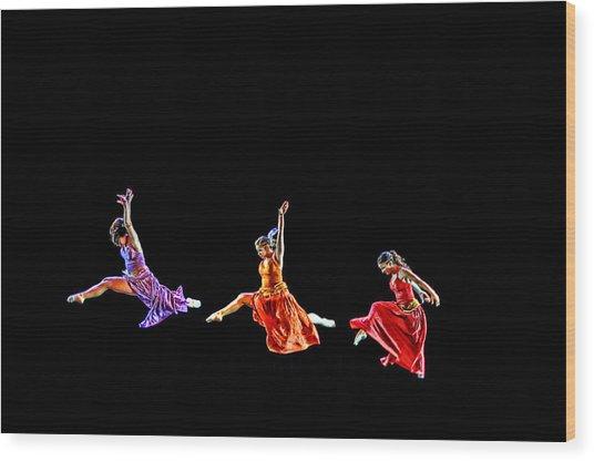 Dancers In Flight Wood Print