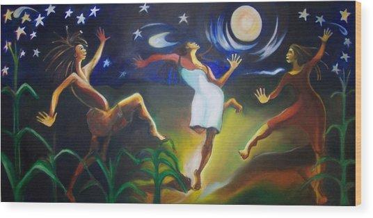 Dancin In The Moonlight Wood Print by Joyce McEwen Crawford