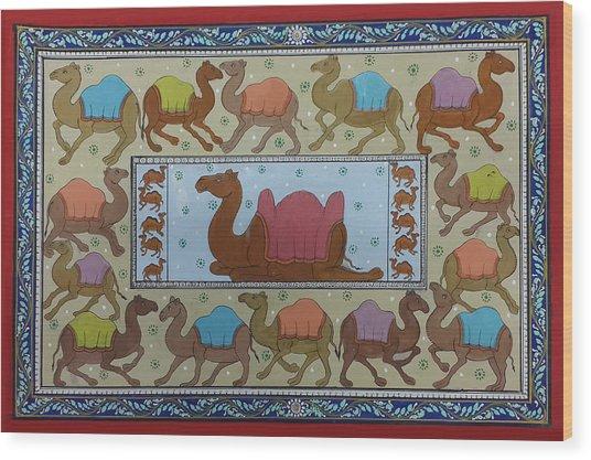 Dancing Camels Wood Print