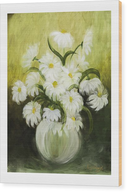 Dancing Daisies Wood Print by Nancy Edwards