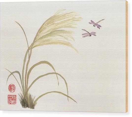 Dancing Dragonflies Wood Print