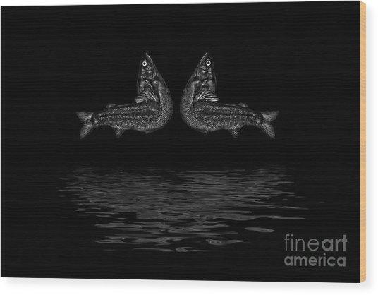 Dancing Fish At Night 2 Wood Print