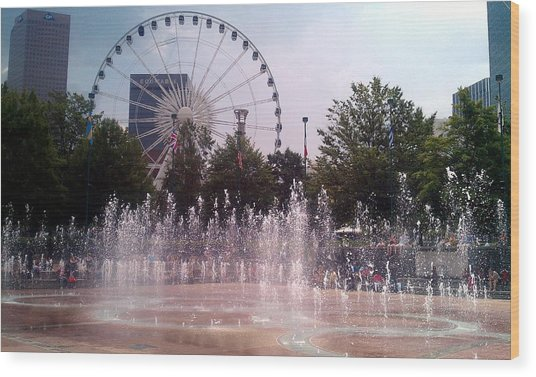 Dancing Fountains Wood Print