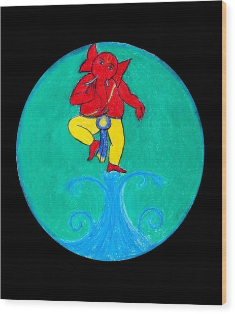 Dancing Ganesha 1 Wood Print