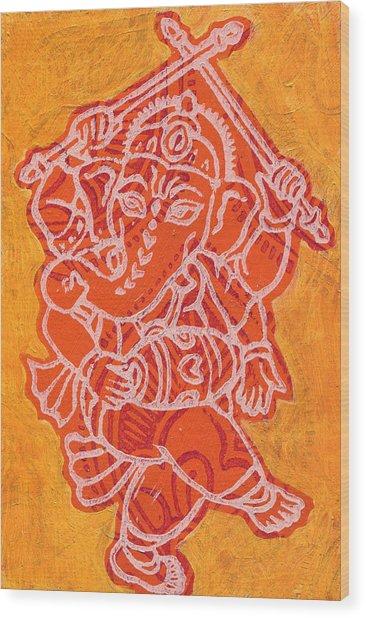 Dancing Ganesha Orange Wood Print