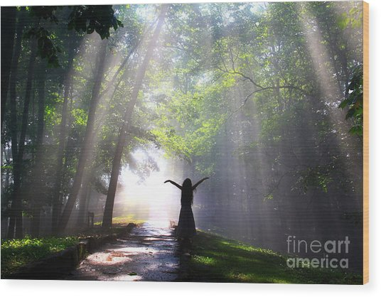 Dancing In God's Light Copyright Willadawn Photography Wood Print