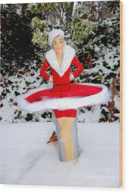 Dancing In The Snow Wood Print