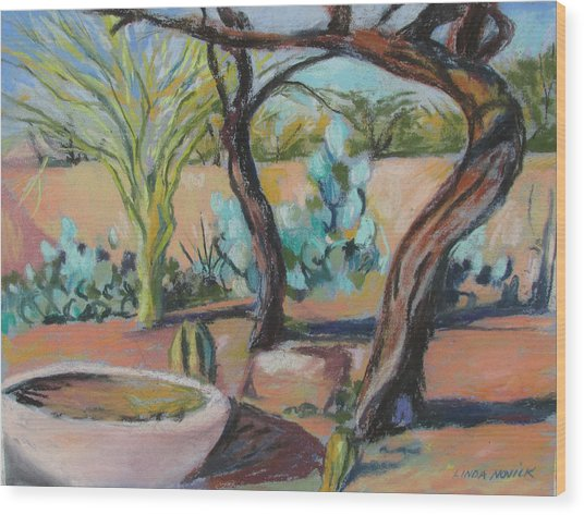 Dancing Mesquite Trees Wood Print