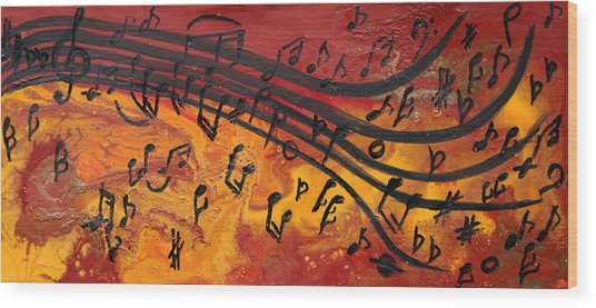Dancing Musical Notes Wood Print