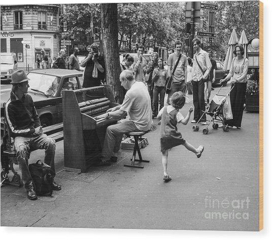 Dancing On A Paris Street Wood Print